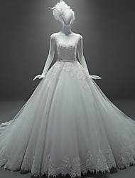 Ball Gown Wedding Dress Chapel Train Scoop Tulle with Appliques / Beading