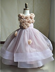 Ball Gown Sweep / Brush Train Flower Girl Dress - Satin / Tulle Sleeveless Jewel with