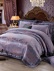 Soft Queen King Size Bedding Set Luxury Silk Cotton Blend Duvet Cover Sets