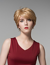 Charm Short Straight Hair Natural Realistic Wig Remy Hand Tied-Top Capless Hair Wigs