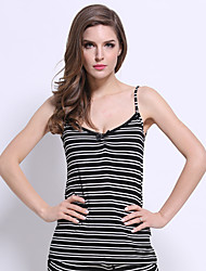 Women's Striped Black Tanks,Strap Sleeveless