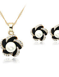 Lucky Doll Alloy / Imitation Pearl / Rhinestone / Silver Plated Jewelry Set Necklace/Earrings Wedding / Party / Daily