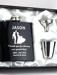 Personalized 3-pieces Stainless Steel Hip Flasks 6-oz  Flask Gift Set