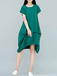 Women's Vintage / Simple Solid Loose U Neck Knee-length Dress