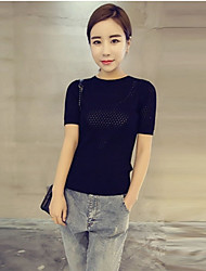 Damen Pullover - Einfach Baumwolle Dünn Kurzarm
