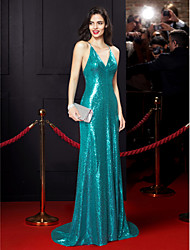 TS Couture Formal Evening Dress - Celebrity Style Trumpet / Mermaid Spaghetti Straps Sweep / Brush Train Sequined with Sequins