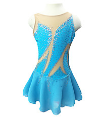 Robe de Patinage Femme Sans manche Patinage Robes Robe de patinage artistique Elasthanne Bleu Ciel Tenue de PatinageVêtements de Plein