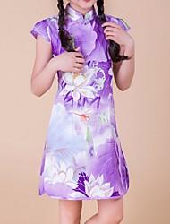 Girl's Green / Purple Dress,Floral Cotton Summer