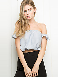 Women's Solid Blue / Black Blouse,Strapless Short Sleeve