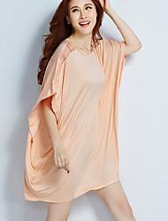 Damen T-Shirt - Ringer-Rücken-Kleid Kunstseide Kurzarm Rundhalsausschnitt