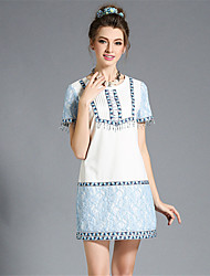 Fashion Plus Size Women Ethnic Bead Tassel Embroidery Patchwork Lace Summer Dress