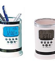 Digital LCD Desk ALarm Clock Mesh Pen Holder Container Time Temp Calendar Gift