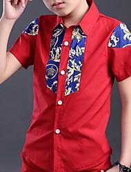 Katoen-Zomer-Boy's-Overhemd-Print