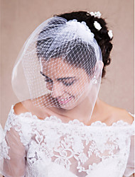 Wedding Veil One-tier Blusher Veils / Veils for Short Hair / Headpieces with Veil Raw Edge Tulle White
