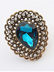 Vintage Jewelry Punk Female Gold-plated Crystal Rhinestone Adjustable Ring