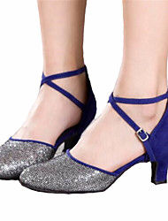 Women's Dance Shoes Latin Satin Chunky Heel Black / Blue / Pink / Silver