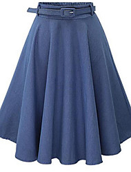 Women's Solid High Rise Pleated Demin Fashion All Match Skirts,Casual / Day / Simple Midi