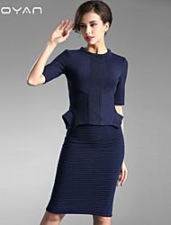 Baoyan® Femme Col Arrondi Manches 1/2 Genou Robes-150892
