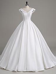 Lanting Bride® Corte en A Vestido de Boda Corte Cuello en V Satén con Botón