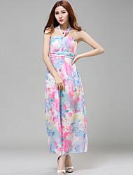 Women Bohemia Flower Print Beach Dress