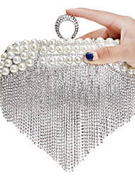 L.west Women Tassel Pearl Diamonds Evening Bag