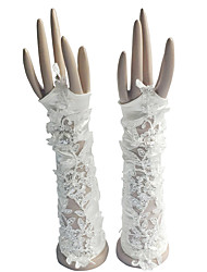 Elbow Length Fingerless Glove Cotton Bridal Gloves / Party/ Evening Gloves Spring / Summer / Fall / Winter Pearls / Rhinestone
