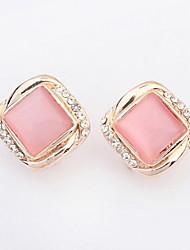 Hot Fashion Women Fine Jewelry Super Beautiful Square Pink White Opal Stone Alloy Pierced Rhinestone Stud Earrings