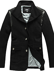 Lesmart Hombre Escote Chino Manga Larga Abajo y abrigos esquimales Negro / Gris - MDFY2233