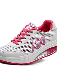 Women's Spring Summer Fall Comfort Tulle Outdoor Casual Athletic Platform Lace-up Green Pink Purple Fitness & Cross Training