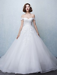 Ball Gown Wedding Dress-Ivory Chapel Train Off-the-shoulder Tulle