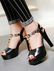 Women's Shoes Chunky Heel Peep Toe / Platform / Open Toe Sandals Party & Evening / Dress / Casual Black/ Pink / White