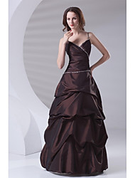 A-Line Spaghetti Straps Floor Length Taffeta Formal Evening Dress with Beading Pick Up Skirt Side Draping