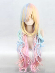 The New COS Anime Wigs Multi-Color Long Curly Dyed Polyester Mixed Color Hair Wigs
