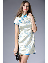 De las mujeres Corte Bodycon Vestido Vintage Estampado Mini Escote Chino Seda / Poliéster