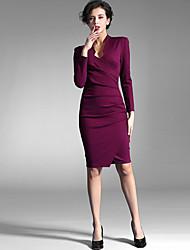 Baoyan® Women's Deep V Long Sleeve Above Knee Dress-150702