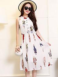 Women's 2016 Summer New Ladies Print Chiffon Dress
