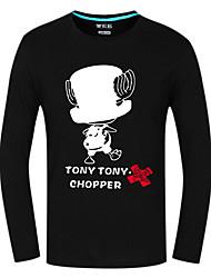 Inspirado por One Piece Tony Tony Chopper Anime Fantasias de Cosplay Tops Cosplay / Bottoms Estampado Vermelho Manga Comprida Top