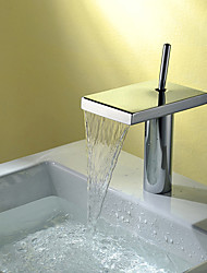 Deck Mounted Single Handle One Hole Brass in Chrome Bathroom Sink Faucet Waterfall Spout Mixer Tap
