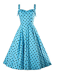 Women's Party/Cocktail Simple / Boho Skater Dress,Polka Dot Strap Above Knee Sleeveless Blue Rayon Summer