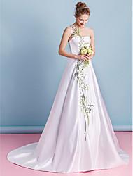 lanting Braut a-line Hochzeitskleid-Kapelle Zug Juwel Satin