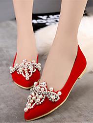 Women's Spring / Summer / Fall / Winter Heels / Pointed Toe Velvet Wedding / Dress / Party & Evening Flat Heel Imitation Pearl Black / Red