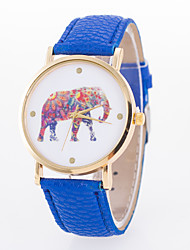 Women's European Style Fashion Cute Colorful Elephant Leather Wrist Watch Cool Watches Unique Watches