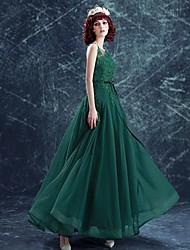 Formal Evening Dress-Dark Green /A-line Scoop /Floor-length Tulle
