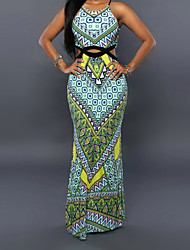 Women's Sexy / Vintage Print Bodycon Dress,Strap Maxi Polyester / Spandex Print Randomly