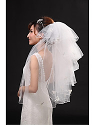 Wedding Veil Six-tier Fingertip Veils Pencil Edge Tulle Beige