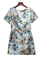 Women's Casual/Daily Simple Loose Dress,Print V Neck Above Knee Short Sleeve Green Polyester Summer