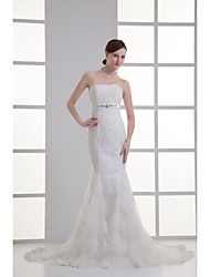 Trumpet / Mermaid Wedding Dress Court Train Strapless Organza / Satin with Appliques / Beading / Sash / Ribbon