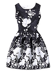 Women's Casual/Daily Vintage A Line DressFloral Round Neck Above Knee Sleeveless Blue / Black Polyester All Seasons