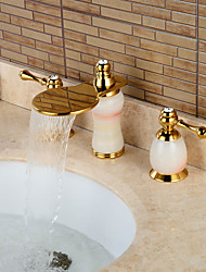 Separated Type Imitation jade Two Handles Ti-PVD Bathroom Basin Faucet - Gold
