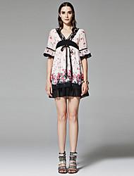 ZigZag® Damen V-Ausschnitt 1/2 Länge Ärmel Shirt & Bluse Rosa - 11066